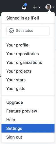 GitHub user menu