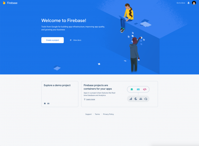 Firebase welcome screen with first visit