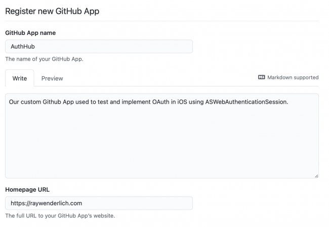 Register new GitHub App page