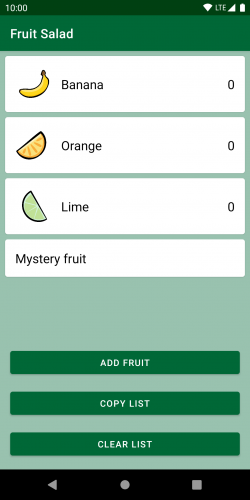 The screen for providing visual feedback with a list of fruits.
