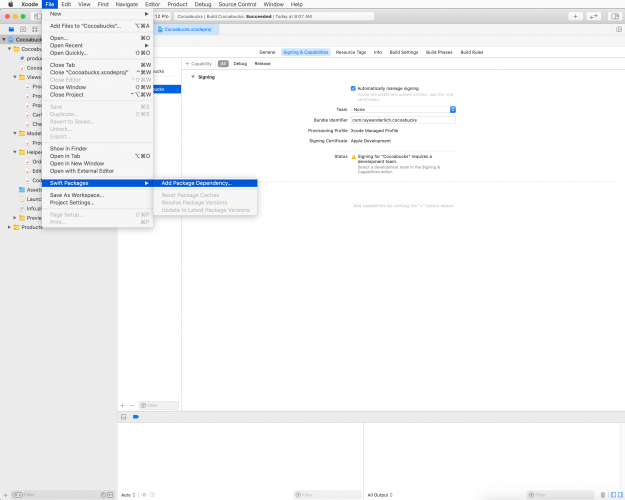 Xcode project screen showing how to add Swift Package to Xcode project