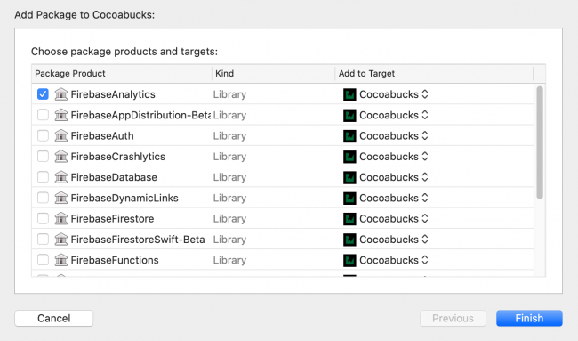 Xcode project screen showing step 3 in adding Swift Package and a list of all Firebase tools