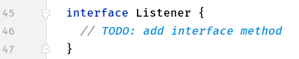 The code of the custom interface called Listener.