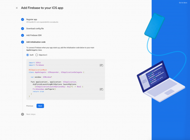 Step 4 screen of adding an iOS app to the Firebase project and how to initialize Firebase SDK in Xcode project using UIKit