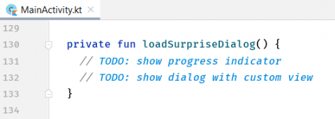 The code with the empty loadSurpriseDialog method.