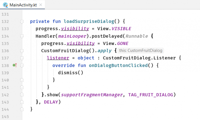 The loadSurpriseDialog method with code for hiding and showing the progress bar.