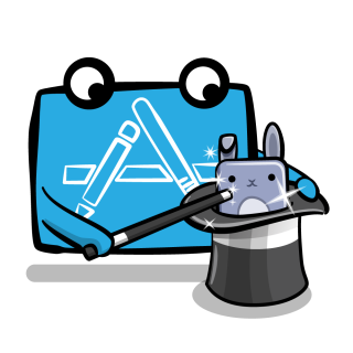 Xcode mascot doing magic and showing a bunny from a hat