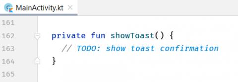 The code of the empty showToast method.