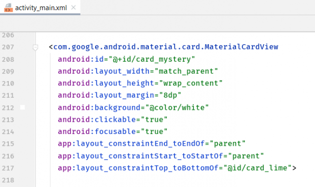 Screenshot with a list of MaterialCardView attributes.