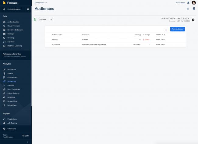 Firebase Console showing Audiences screen and how it looks like when there are audiences set up