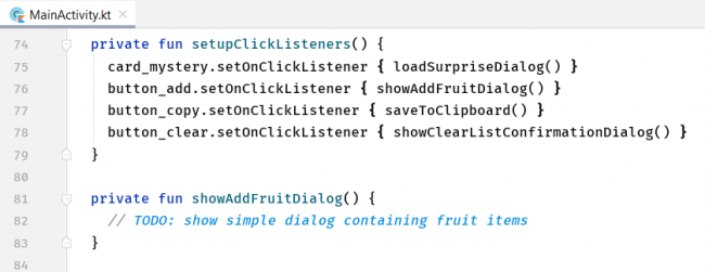 The code containing a click listener for the button with ID button_add.