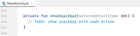 The code with the empty showSnackbar method.