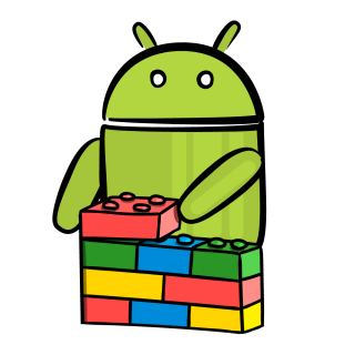 Android character playing with building blocks