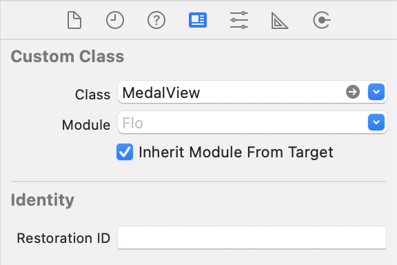 MedalView class selected in the Identity inspector