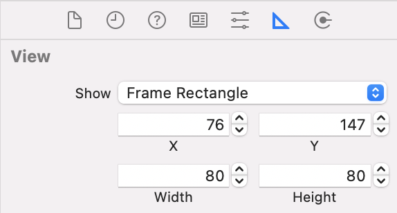 Frame values set in the Size inspector