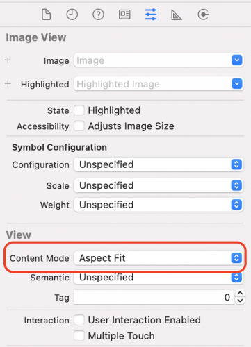 Content Mode set in the Attributes inspector