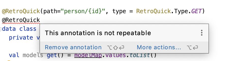 The error for duplicated RetroQuick annotation