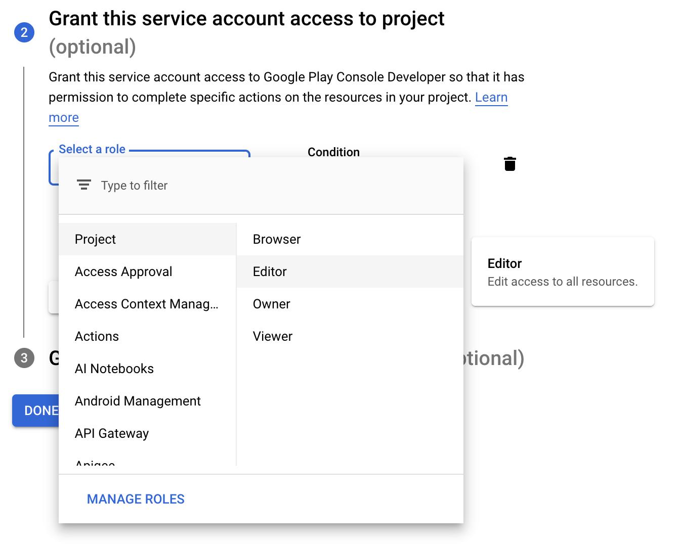 Google service account role