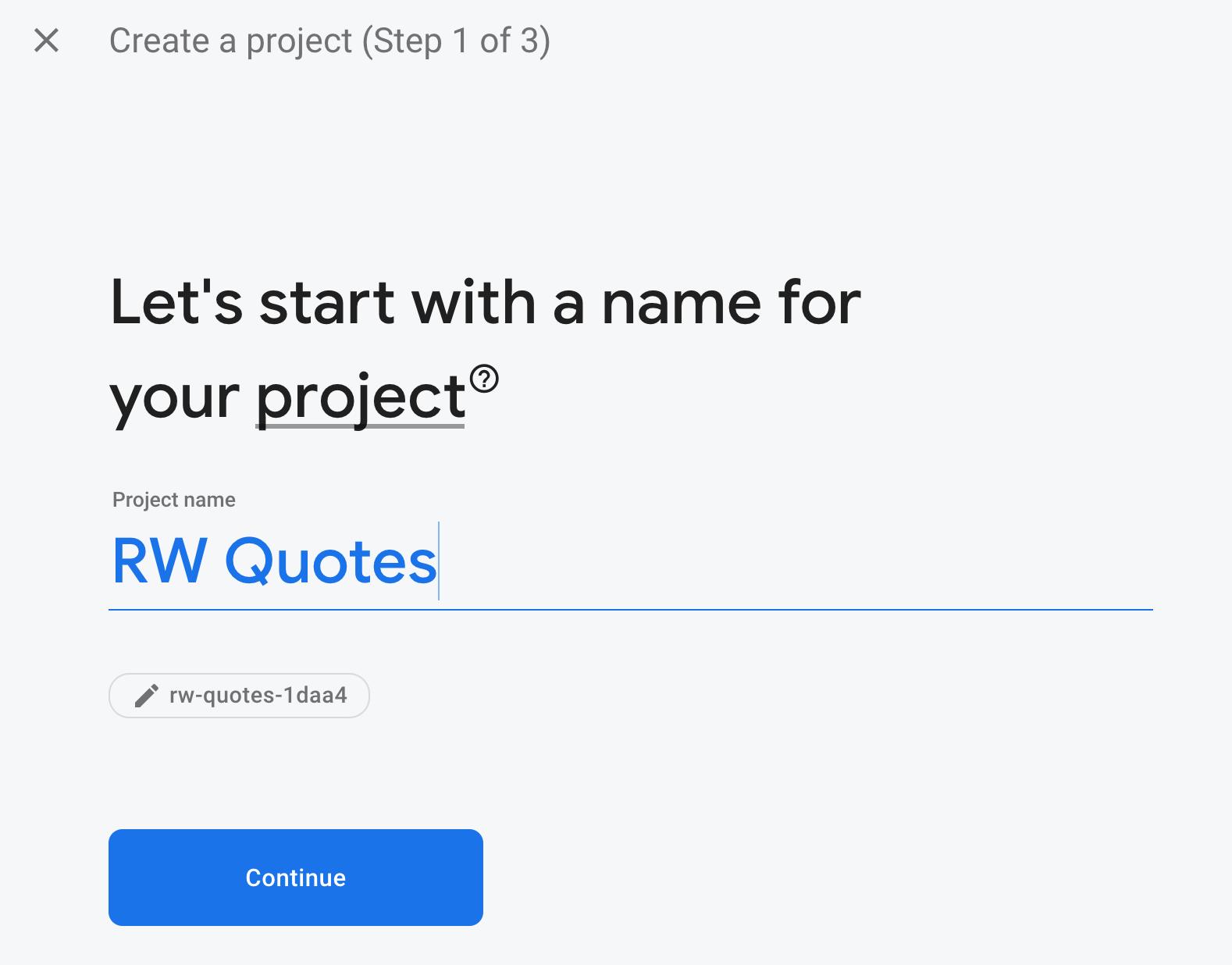 Firebase project name modal
