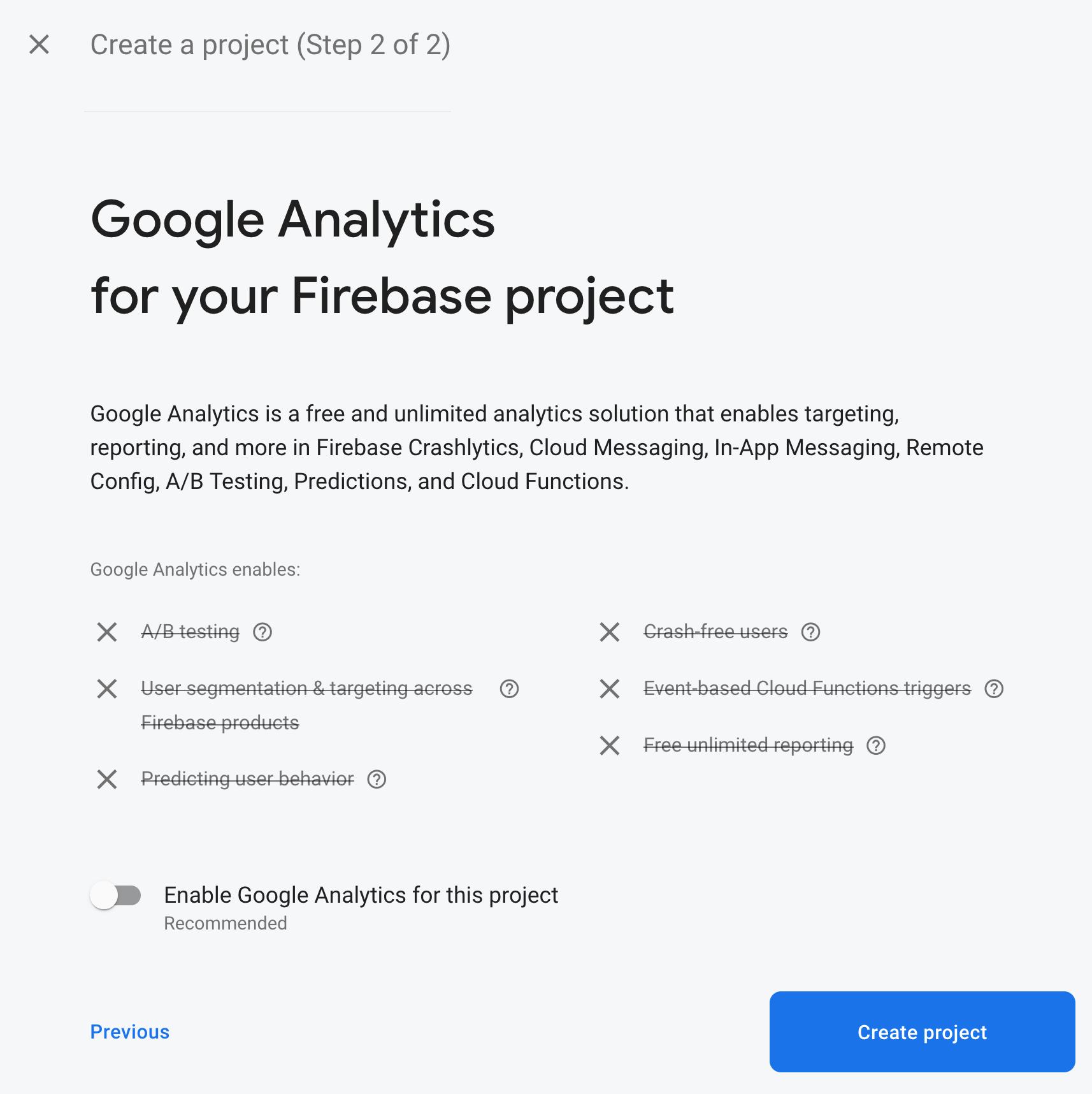 Firebase project disable Google Analytics