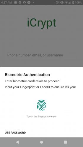 Biometric Authentication Prompt