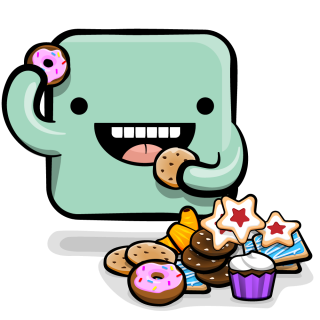 Creature monster eating a bunch of cookies