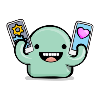Happy app character