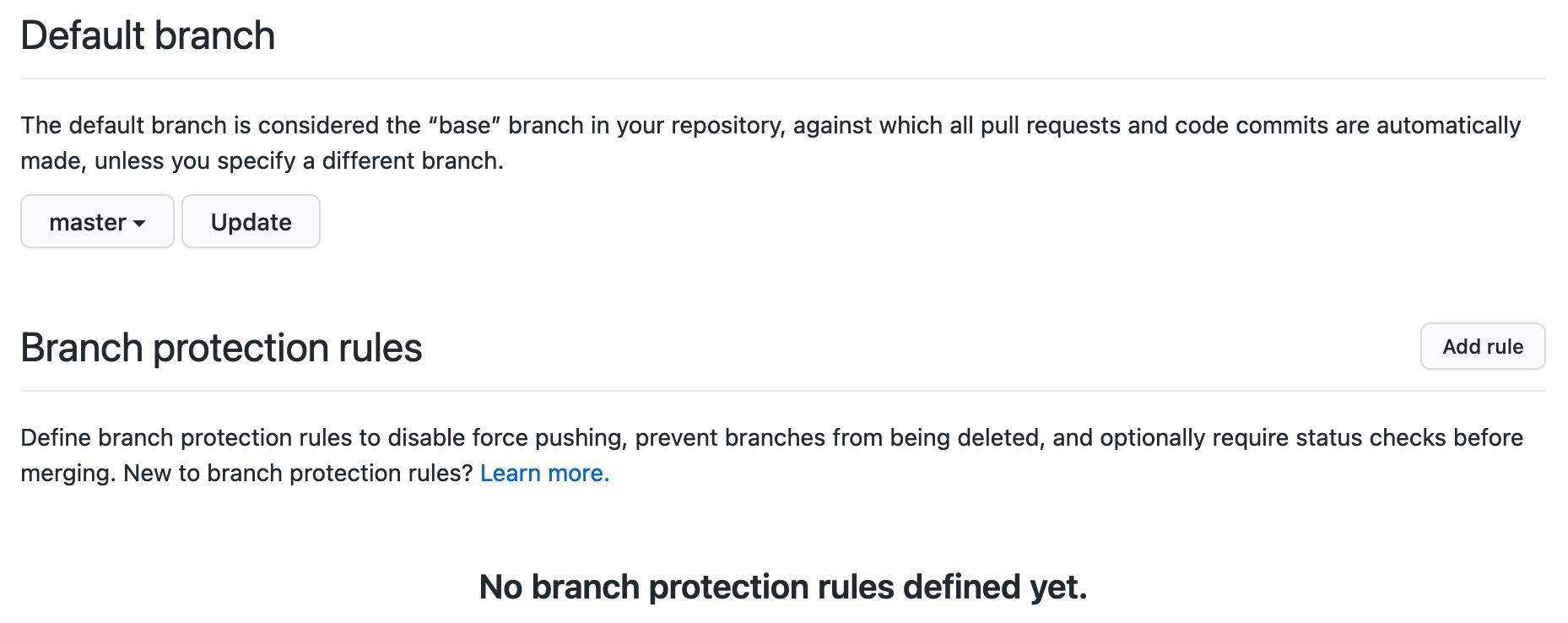 GitHub branch settings page