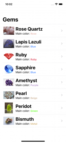 A list of gems on iPhone. Each row shows a thumbnail, plus the name and main color of the gem.