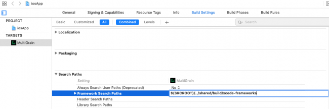 Adding the framework path.