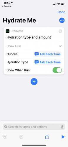 Hydrate Me app Hydration type and amount entry