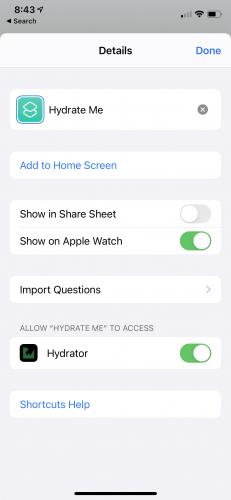 Hydrate Me app add shortcut to Apple watch