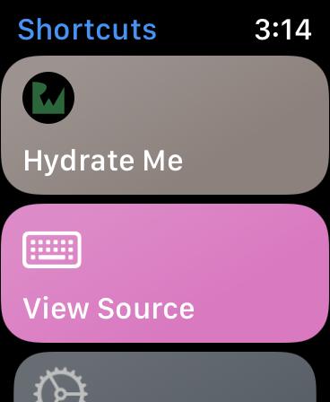 Hydrate Me app on Apple Watch Shortcut