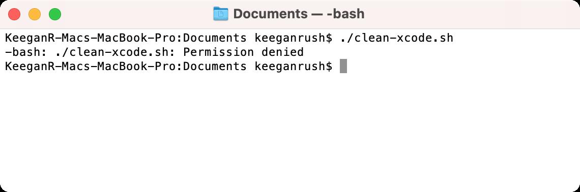 Denied permission error when running script