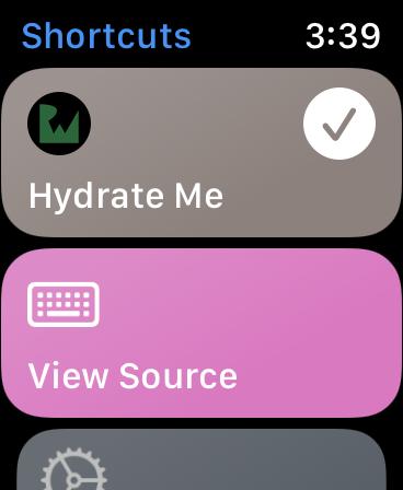 Hydrate Me app Shortcut Success