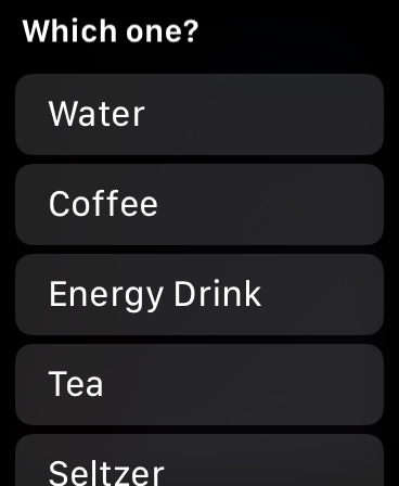 Hydrate Me app Drink List