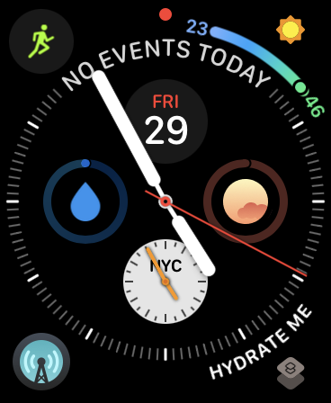 Hydrate Me app on Watch Face