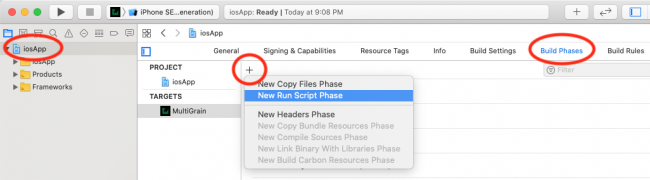 Adding a run script under the build phases tab of xcode with the plus button.