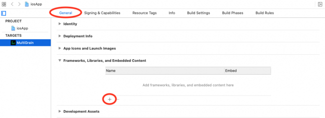 Click the add new framework button under the general tab in xcode.