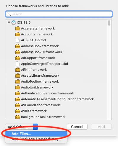 Select add files under add other under frameworks.
