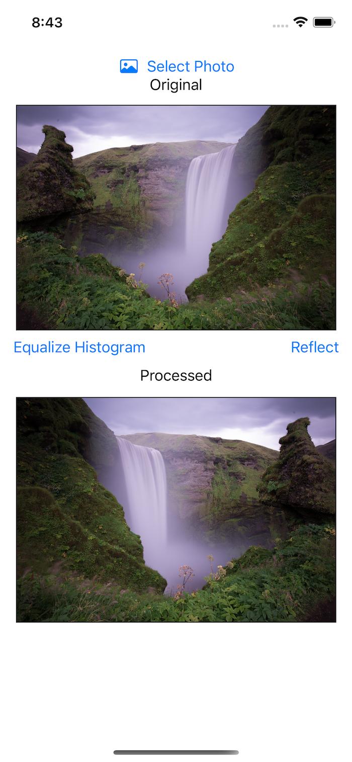 Original waterfall and reflected waterfall