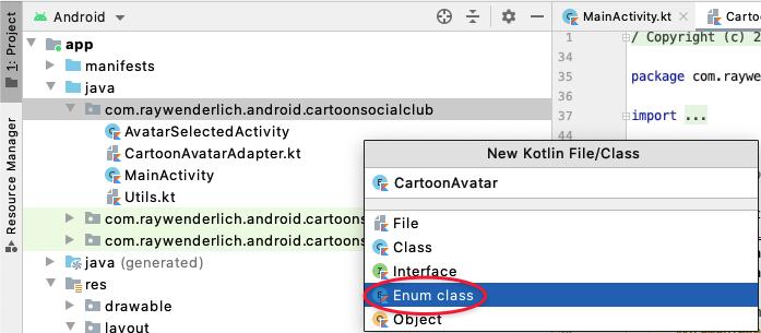 Instructions for creating a CartoonAvatar enum on Android Studio