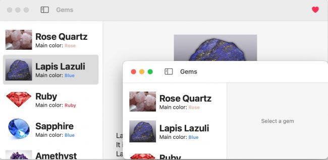 Two macOS windows of the same app.