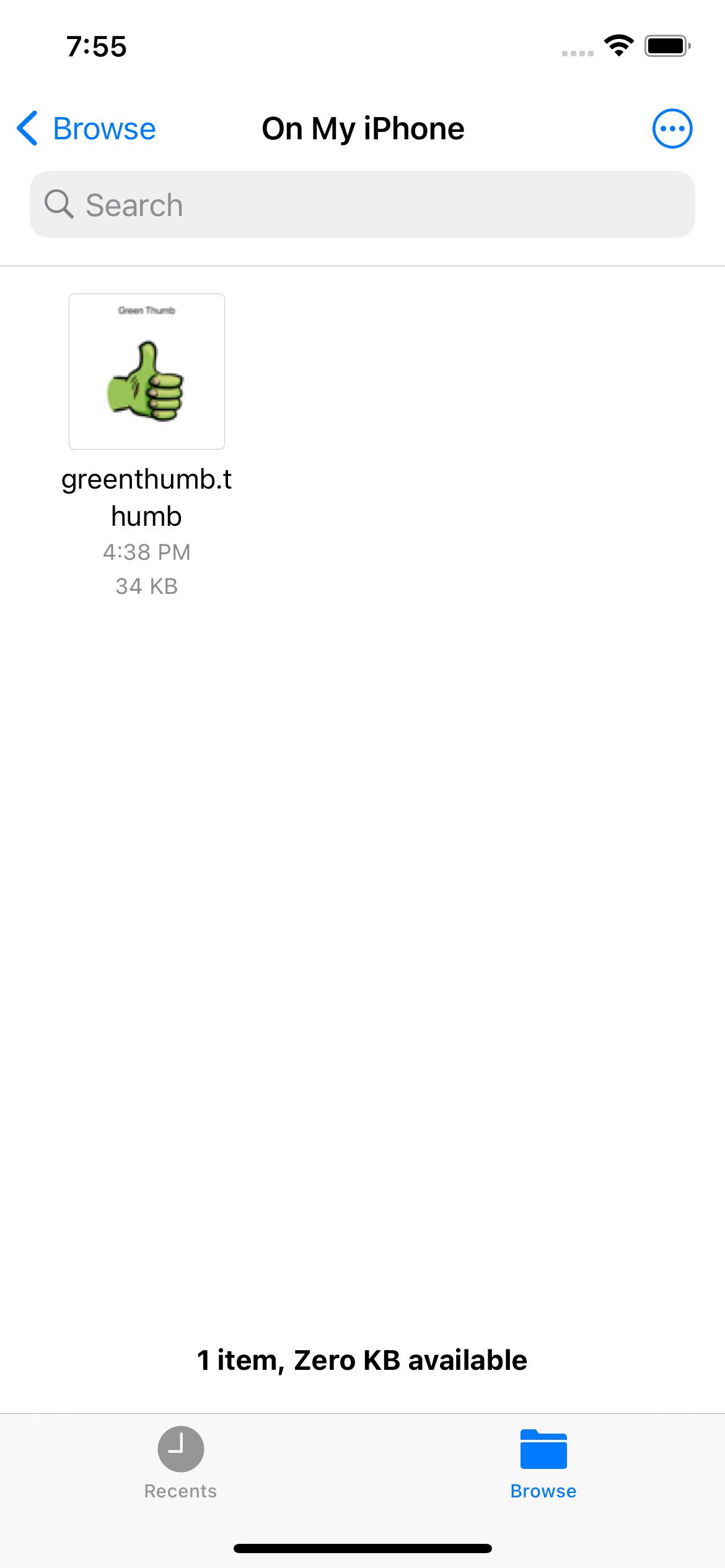 Files app showing thumb file thumbnail