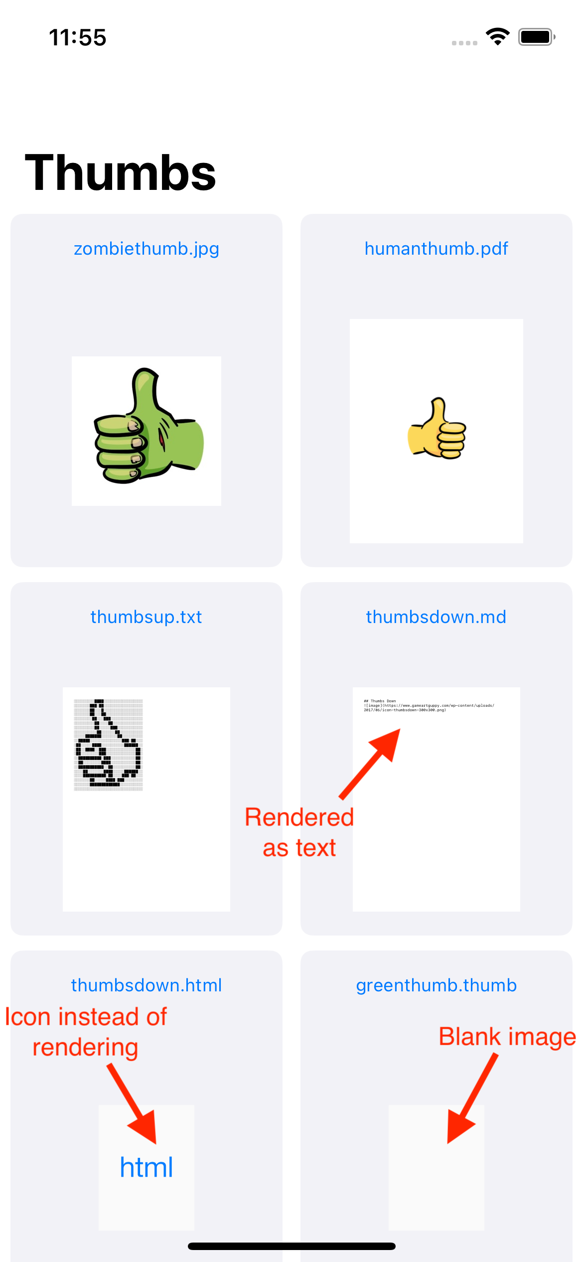 The RazeThumb app home screen containing a list of documents using the default thumbnails from Quick Look with annotations explaining that Markdown doesn't render, HTML uses a simple icon, and the custom .thumb thumbnail is not implemented