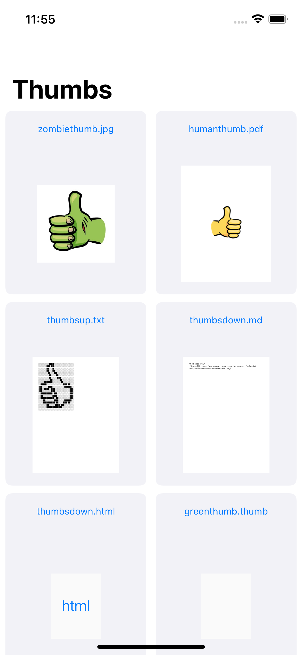 The RazeThumb app home screen containing a list of documents using the default thumbnails from Quick Look