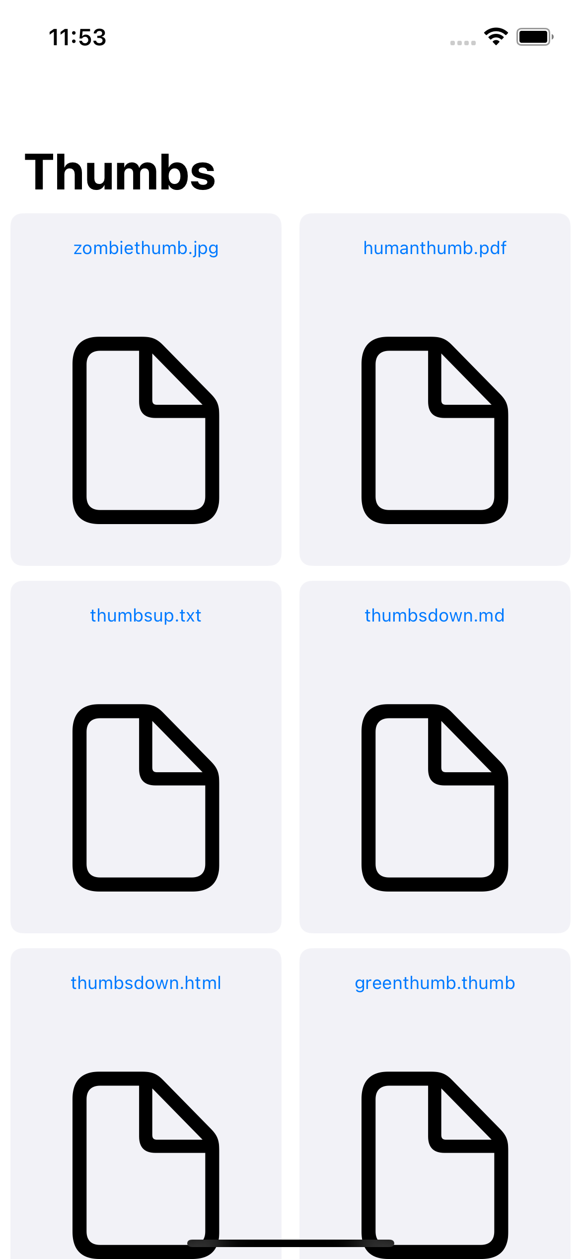 The RazeThumb app home screen containing a list of documents using a default placeholder icon for each one
