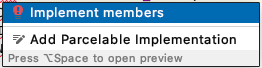 """Pop-up with """"Implement members"""" selected"""