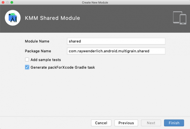 Filling in the package name and shared as the module name.