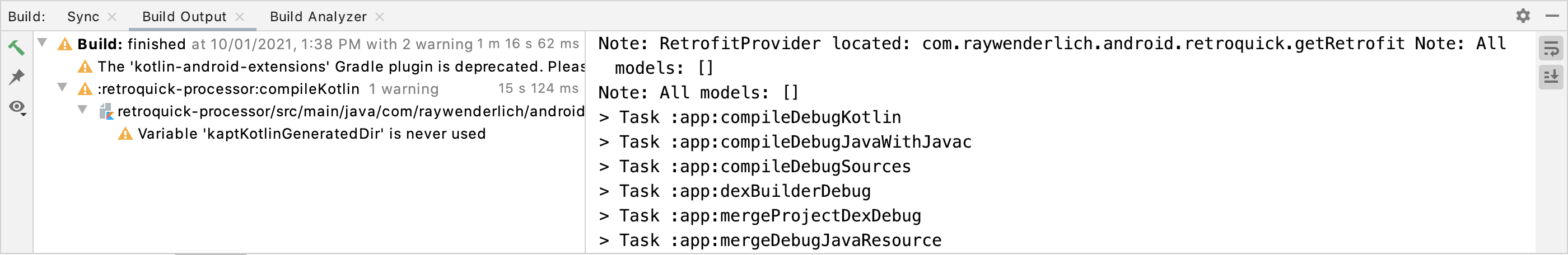 The Build output window presents a note with an empty list of models